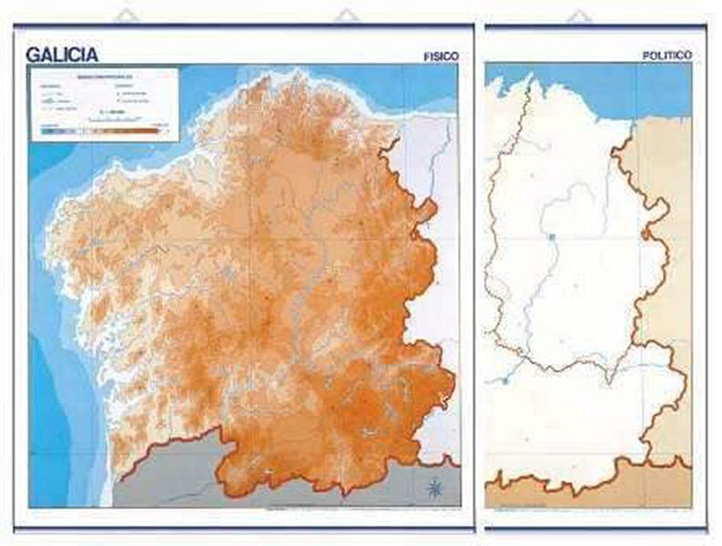 Mapa De Galicia Fisico Mudo.Mapa Mudo Galicia Fisico 50u Pack Distribuciones Cimadevilla
