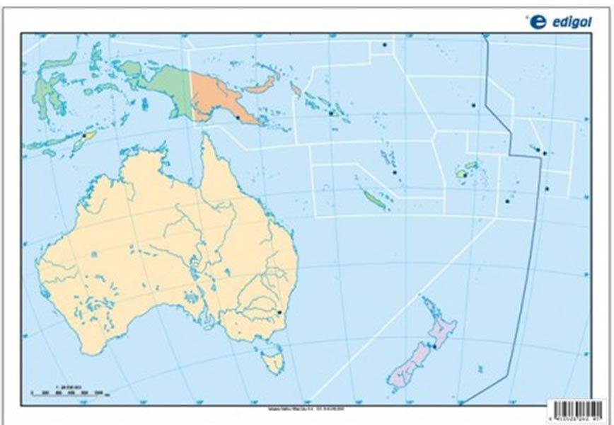Mapa Oceania Mudo Fisico.Mapa Mudo Oceania Fisico 50u Pack Distribuciones Cimadevilla