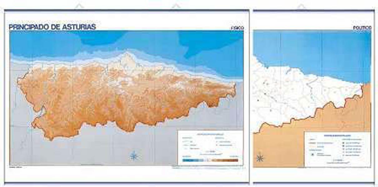 Mapa De Asturias Fisico.Mapa Mudo Asturias Fisico 50u Pack Distribuciones Cimadevilla